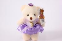 игрушка для букетов - медведь (сиреневое платье)) h=12см №08