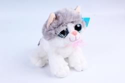 Игрушка мягкая - (Г) Кошка бело/серая 30см  арт.2086