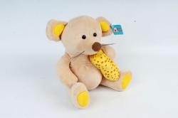 Игрушка мягкая - (Г) Мышка с сыром бежевая  Арт.20361
