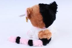 Игрушка мягкая - Кошка с большим хвостом белая с рыжими пятнами   М-3014/23