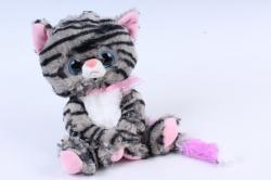 Игрушка мягкая - Кошка с большим хвостом полосатая  М-3014/23