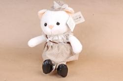 Игрушка мягкая - Кошка в ботинках в бежевом платье
