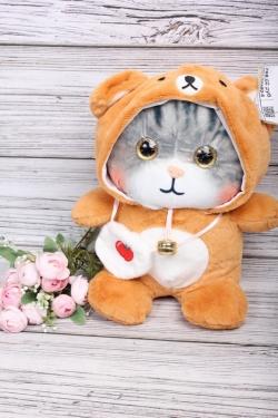 Игрушка мягкая - Кошка в капюшоне 20см рыжая