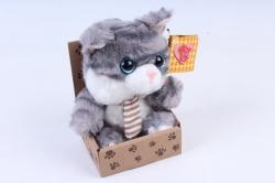 Игрушка мягкая - Кот в коробке серый   М-1570/12