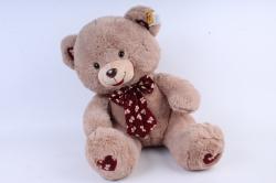 Игрушка мягкая - Медведь с бантом бежевый  3 цвета (густой мех) М-1325/48