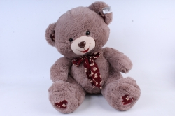 Игрушка мягкая - Медведь с бантом какао   3 цвета (густой мех) М-1325/48
