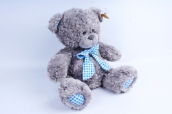 Игрушка мягкая - Медведь с бантом серый   М-1103/38