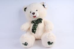 Игрушка мягкая - Медведь с бантом шампань   3 цвета (густой мех) М-1325/48