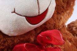 Игрушка мягкая - Медведь с бантом  коричневый    М-1320/48  3цвета
