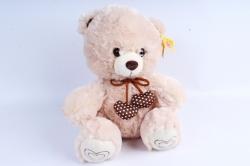 Игрушка мягкая - Медведь с сердечком бежевый М-1833/28