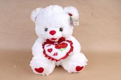 Игрушка мягкая - Мишка   с сердцем белый
