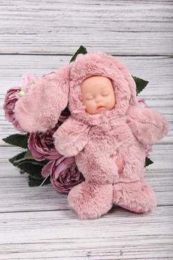Игрушка мягкая - Пупс Заяц 15см розовый
