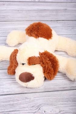 Игрушка мягкая - Собака лежит 40см кремовая