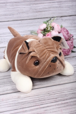 Игрушка мягкая - Собака Шарпей 25см какао