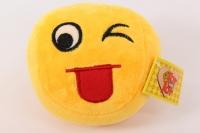 игрушка мягкая желтый круг смайлик с языком 10см, 1587