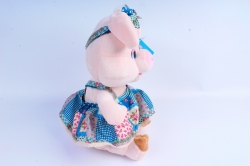 Игрушка мягкая Хрюшка в бирюзовом платье   АГ-83059/28