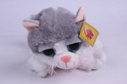 игрушка мягкая кошка с серым пятном  м-3027 h=20cm