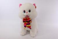 игрушка мягкая кот большой, белый, с полосатым бантом 50см, 1534/50
