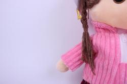 игрушка мягкая кукла розовая а-1374/70