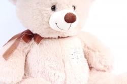 Игрушка мягкая Медведь бежевый с заплаткой коричневый бант  М-2124/60