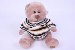 игрушка мягкая медведь бежевый в свитере   3270-ма