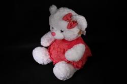 игрушка мягкая - медведь белый в розовом платье м-2539/50 h=50cm