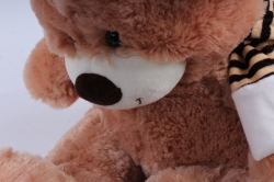 игрушка мягкая медведь с бантом бежевый 38см  м-1064/38