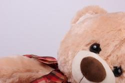 игрушка мягкая медведь с бантом бежевый аг-1652/50  h=50cm