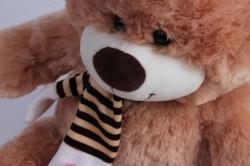 игрушка мягкая - медведь с бантом бежевый  м-1064/38