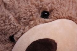 игрушка мягкая - медведь с бантом бежевый м-1342/48 h=28cm
