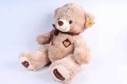 Игрушка мягкая Медведь с бантом бежевый  М-2001/50