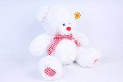 Игрушка мягкая Медведь с бантом белый   М-1103/38