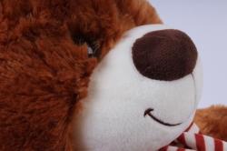 игрушка мягкая медведь с бантом коричневый 38см  м-1064/38