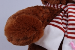 игрушка мягкая - медведь с бантом коричневый  м-1064/38 h=39cm