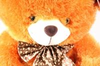 игрушка мягкая медведь с бантом с искорками рыжий 55см 2161/55-аг