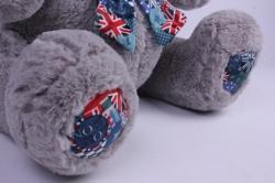 игрушка мягкая - медведь с бантом серый м-1342/48 h=28cm