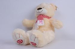 игрушка мягкая - медведь с бантом шампань  м-1064/38 h=39cm