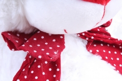 Игрушка мягкая Медведь с красным бантом белый   М-1105/48