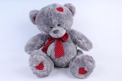 Игрушка мягкая Медведь с красным бантом серый М-1105/48