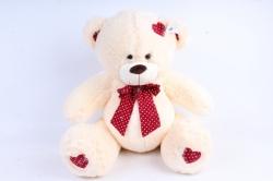 Игрушка мягкая Медведь с красным бантом шампань  М-1105/48