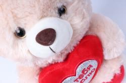 игрушка мягкая медведь с сердцем бежевый м-1700/1