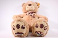 игрушка мягкая медведь с шарфом бежевый 1114/48 h=28см