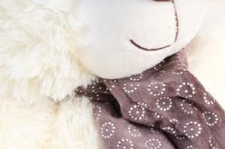 Игрушка мягкая Медведь с шарфом большие лапы светло-серый М-7445/45