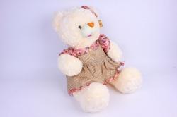 Игрушка мягкая - Медведь шампань в коричневом платье М-2539/50 h=47cm