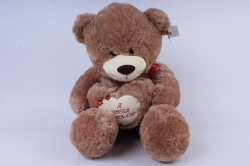 Игрушка мягкая Медведь три цвета с сердцем бежевый 48см   М-2559/48