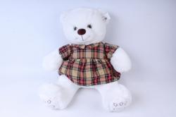 игрушка мягкая медведь в клетчатом платье белый д-3348/48