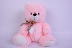 Игрушка мягкая Мишка розовый с бантом