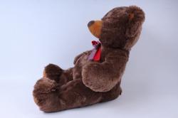 игрушка мягкая мишка с бантом коричневый м-3056/52
