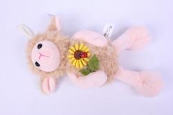 игрушка мягкая овечка бежевая с цветком  2730-л