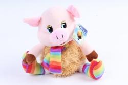 Игрушка мягкая Поросёнок в радужном шарфике МА-19410